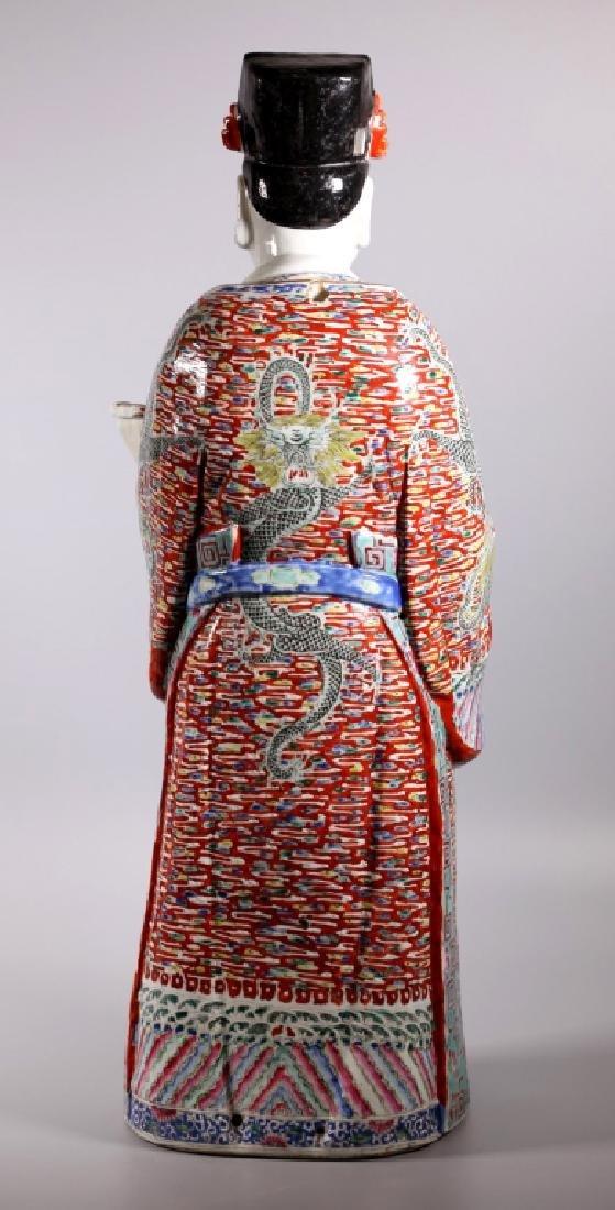Large Chinese Enameled Porcelain Luxing Figure - 3