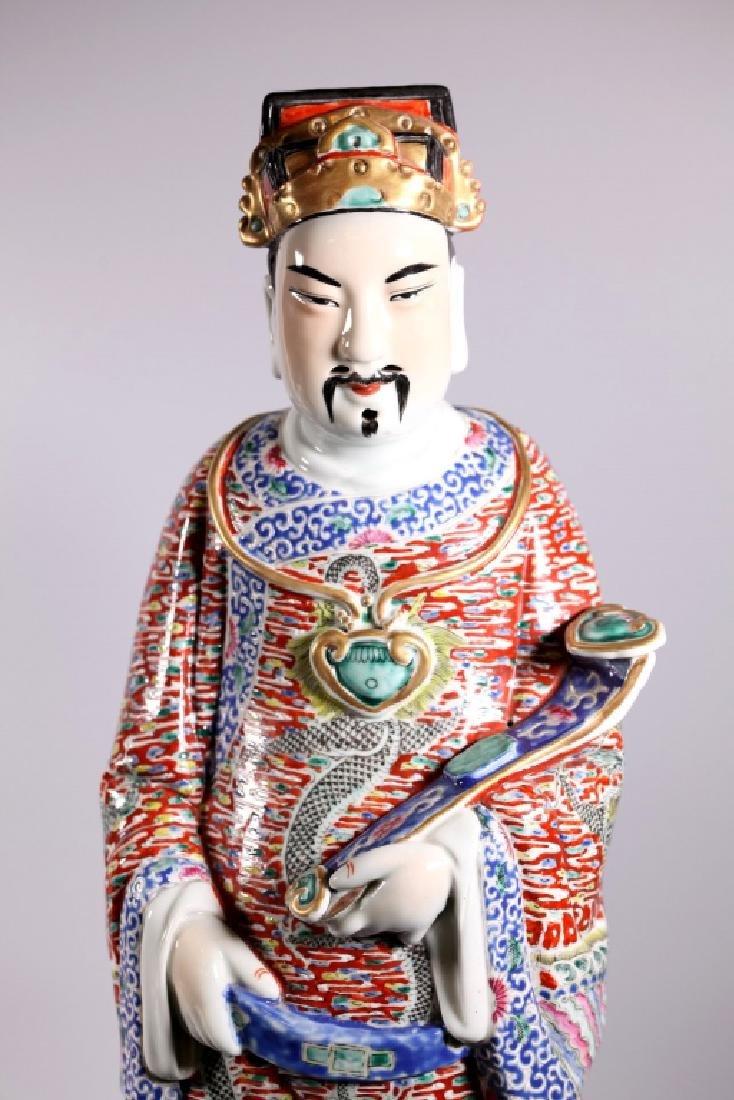 Large Chinese Enameled Porcelain Luxing Figure - 4