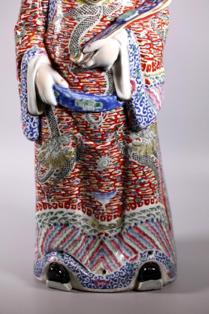 Large Chinese Enameled Porcelain Luxing Figure - 5