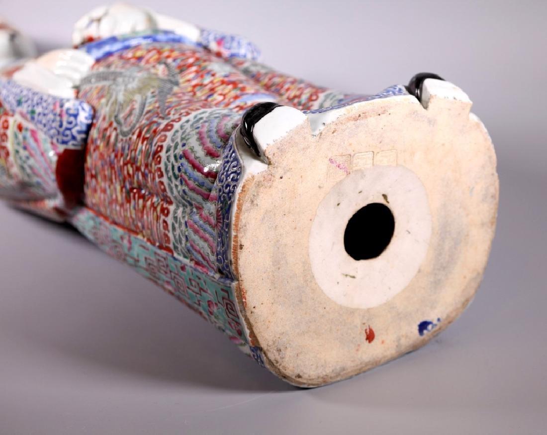 Large Chinese Enameled Porcelain Luxing Figure - 6