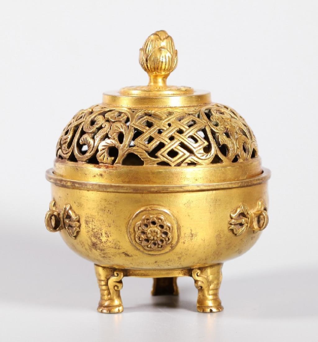 Chinese Gilt Bronze Buddhist Censer & Cover
