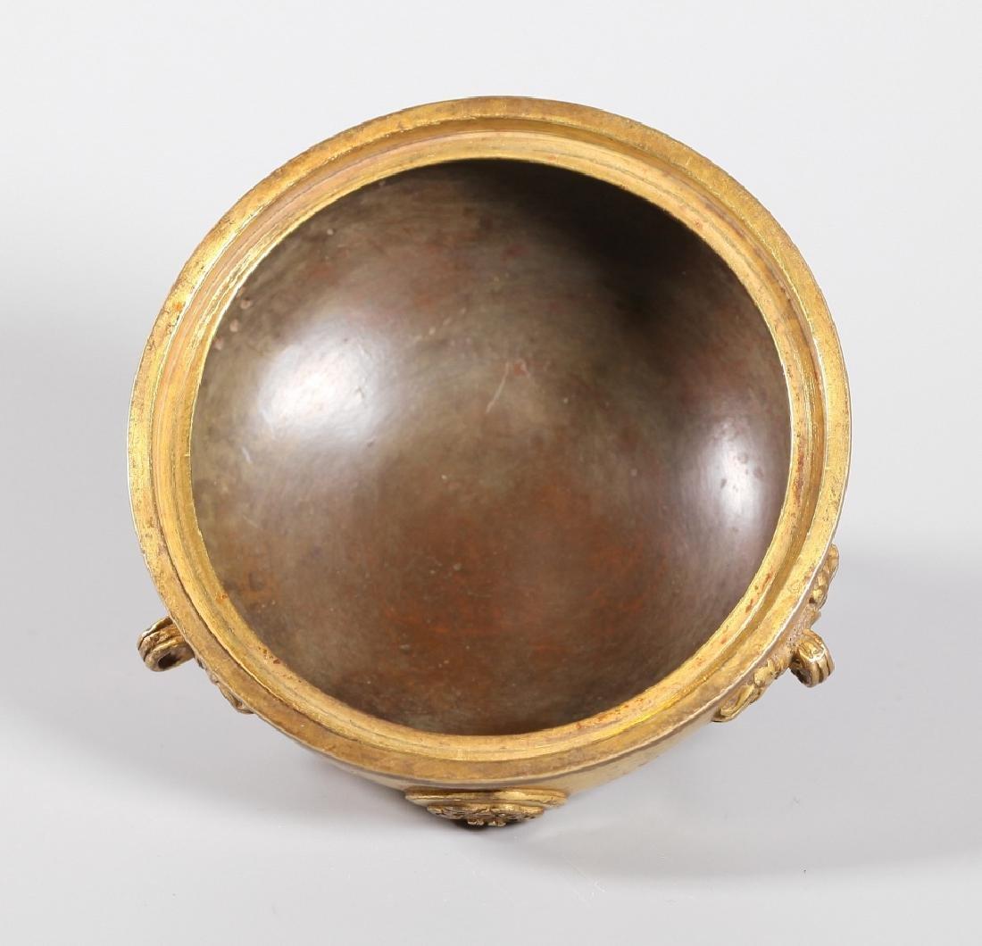 Chinese Gilt Bronze Buddhist Censer & Cover - 3