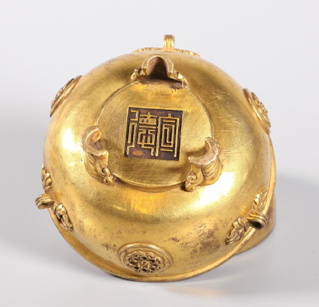 Chinese Gilt Bronze Buddhist Censer & Cover - 4