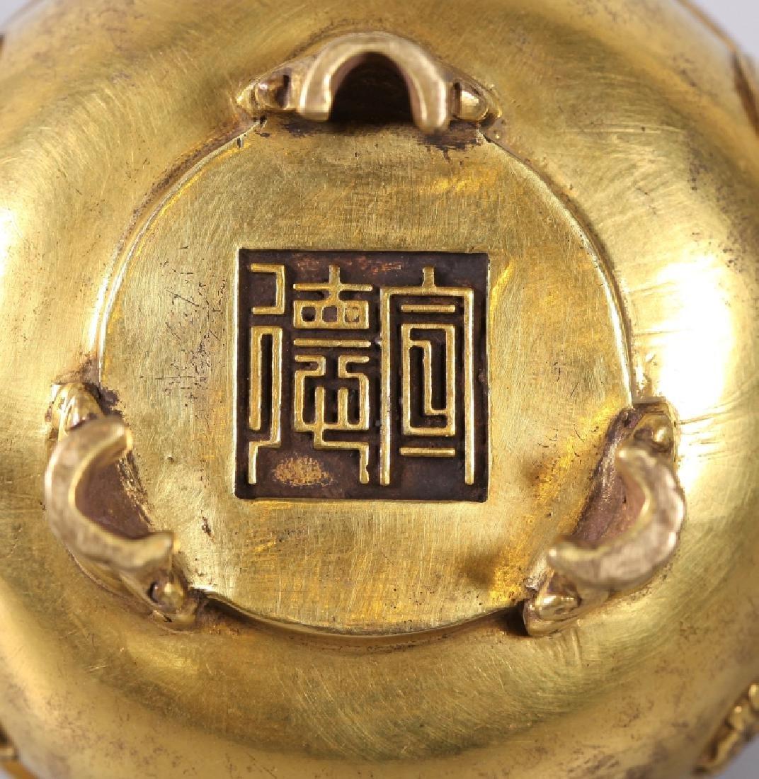 Chinese Gilt Bronze Buddhist Censer & Cover - 5