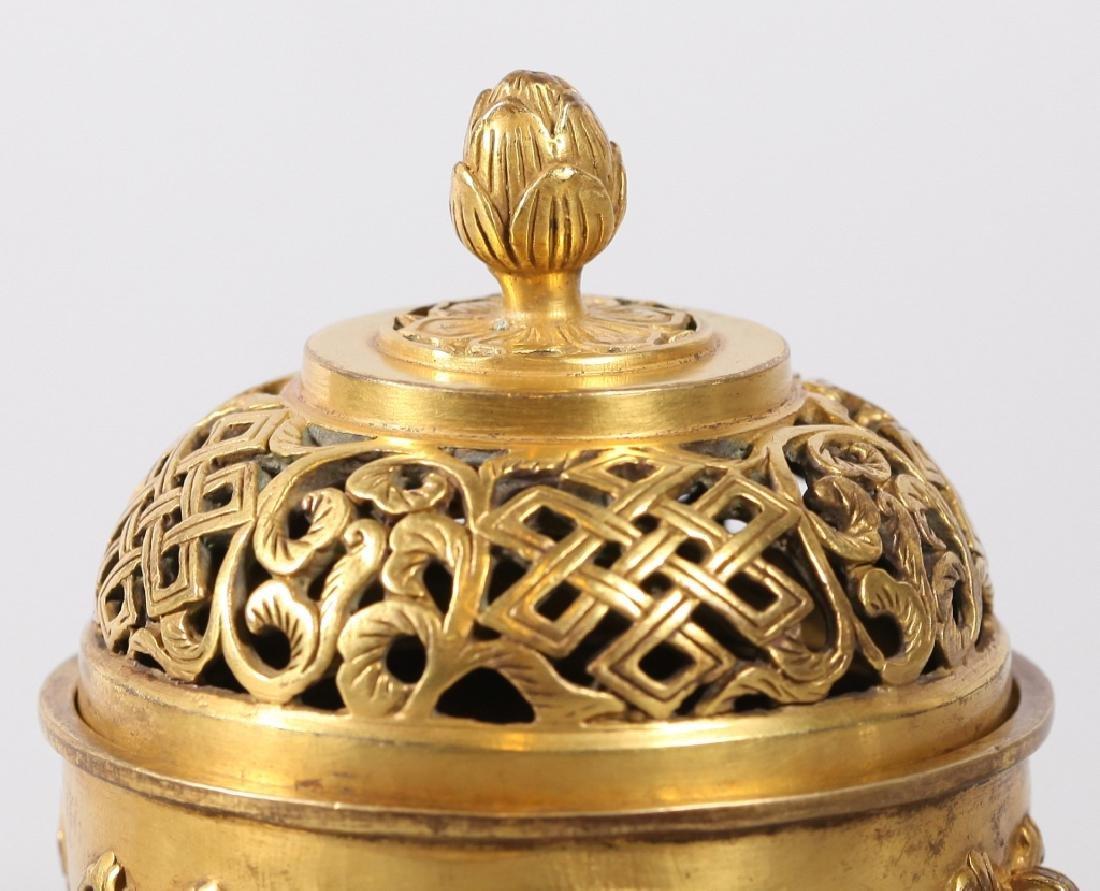 Chinese Gilt Bronze Buddhist Censer & Cover - 6