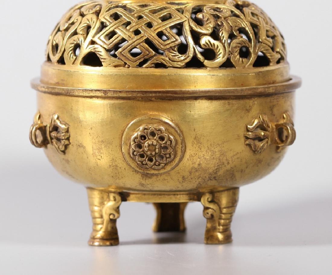 Chinese Gilt Bronze Buddhist Censer & Cover - 7