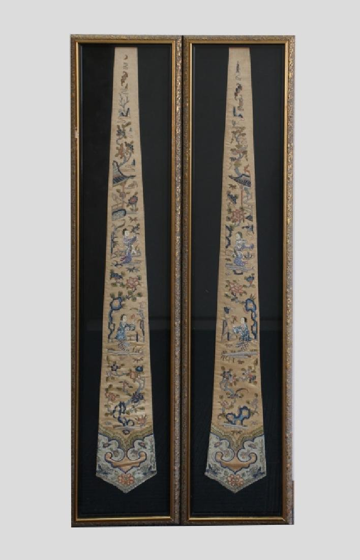 Pr Chinese Qing Dynasty Embroidered Scarves