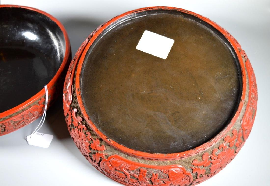 Lg Chinese Red Cinnabar & Black Lacquer Round Box - 10