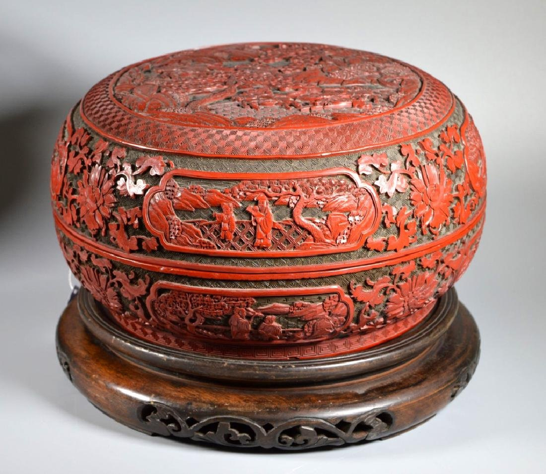 Lg Chinese Red Cinnabar & Black Lacquer Round Box