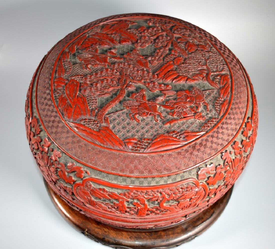 Lg Chinese Red Cinnabar & Black Lacquer Round Box - 2
