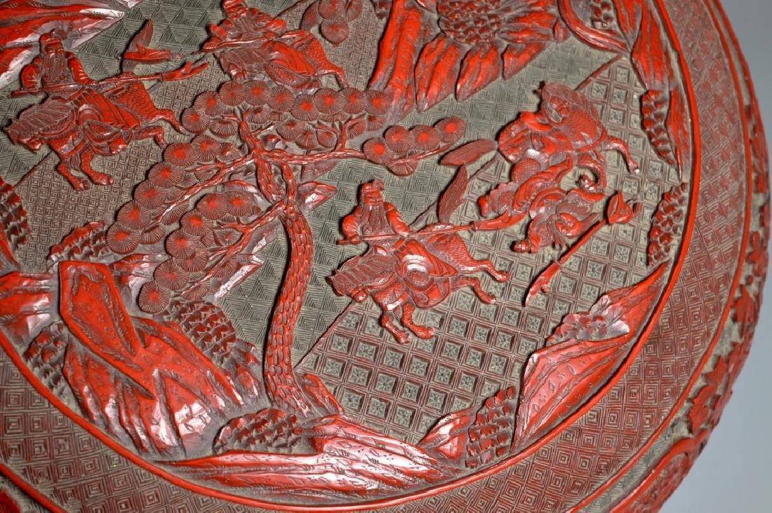 Lg Chinese Red Cinnabar & Black Lacquer Round Box - 3