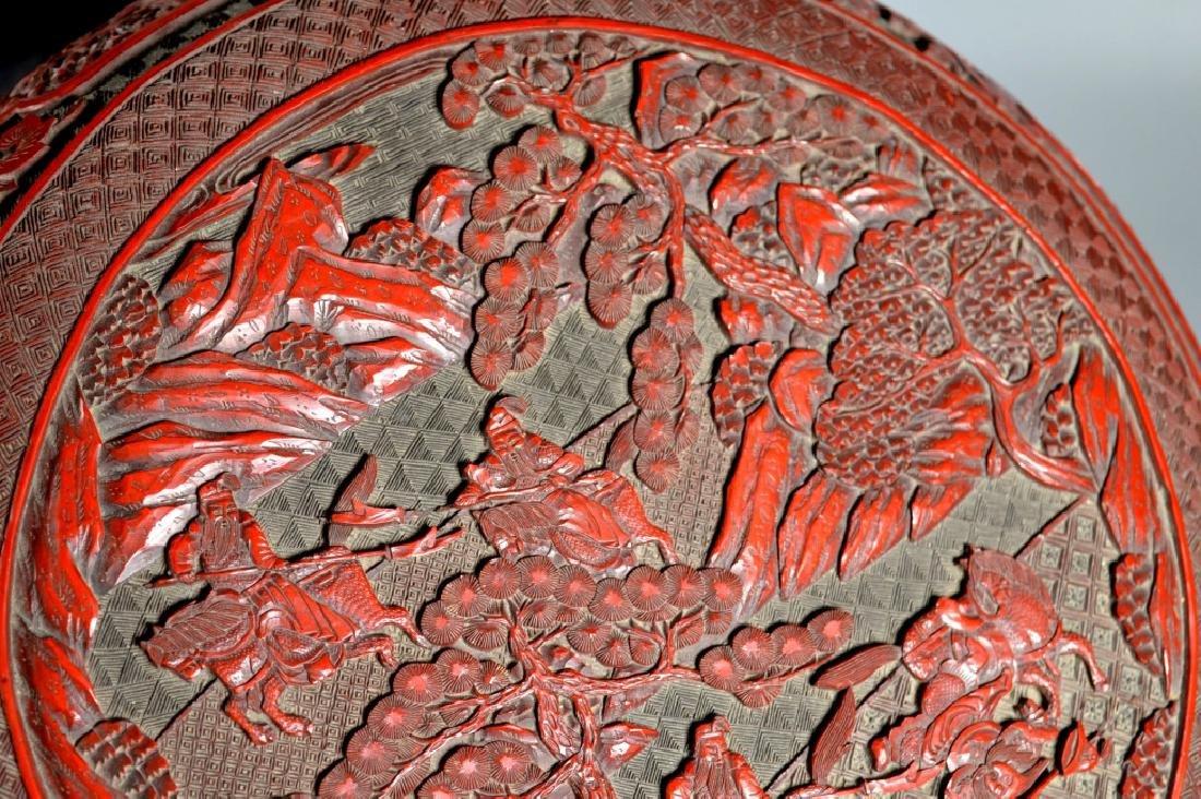 Lg Chinese Red Cinnabar & Black Lacquer Round Box - 4