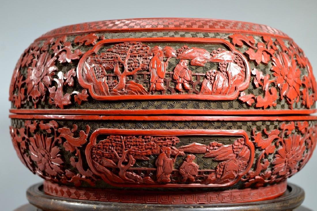 Lg Chinese Red Cinnabar & Black Lacquer Round Box - 5