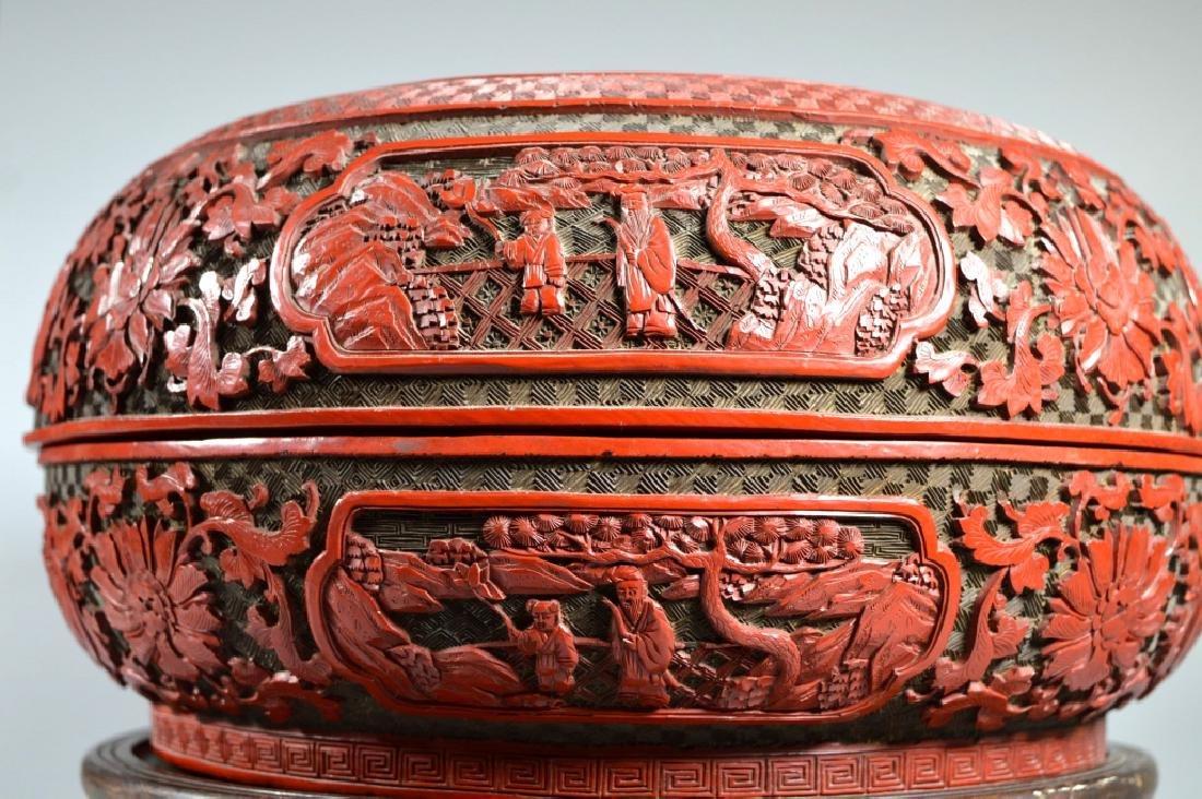 Lg Chinese Red Cinnabar & Black Lacquer Round Box - 6