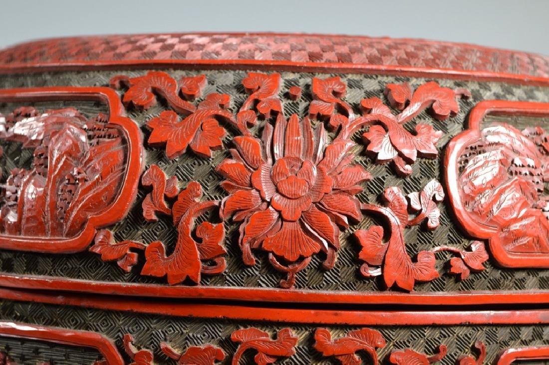 Lg Chinese Red Cinnabar & Black Lacquer Round Box - 7