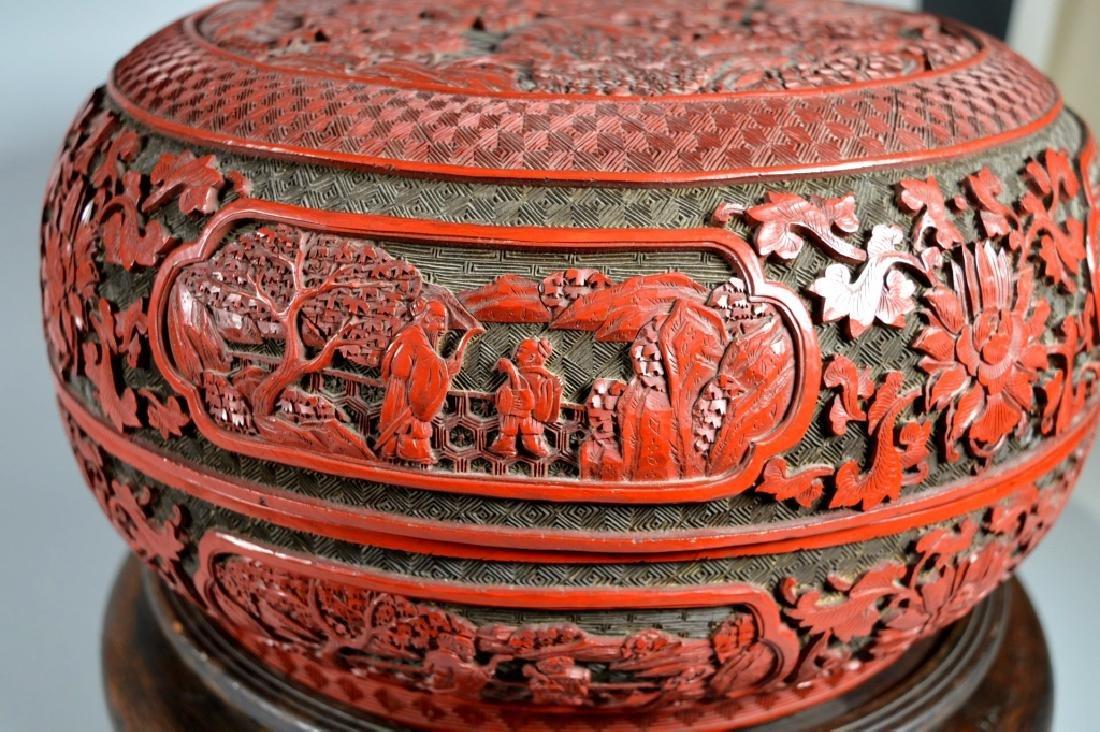 Lg Chinese Red Cinnabar & Black Lacquer Round Box - 8
