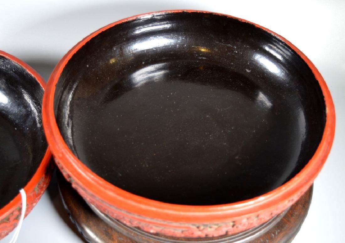 Lg Chinese Red Cinnabar & Black Lacquer Round Box - 9