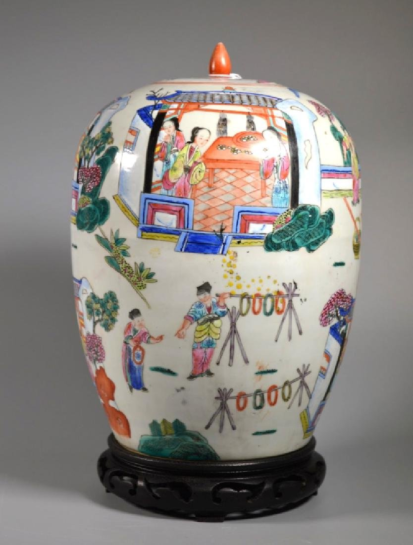 "Chinese 19 C ""Silk Production"" Porcelain Jar"