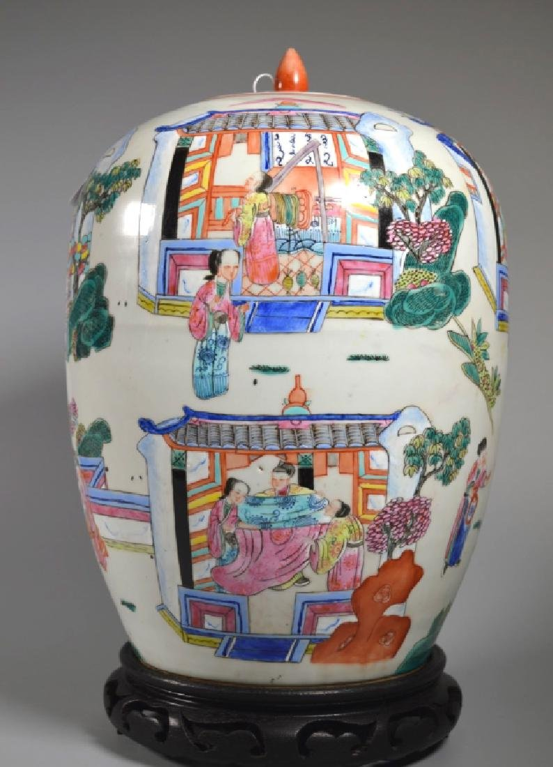 "Chinese 19 C ""Silk Production"" Porcelain Jar - 2"