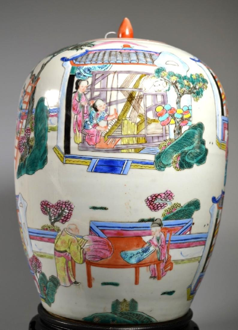"Chinese 19 C ""Silk Production"" Porcelain Jar - 3"