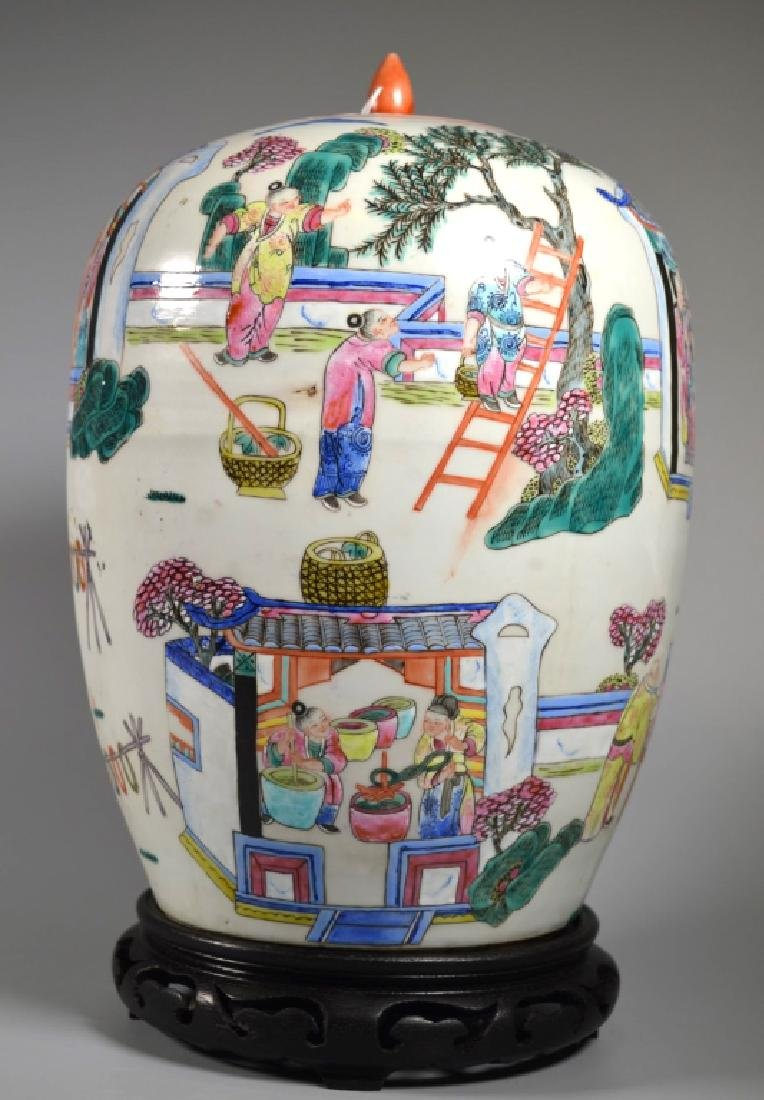 "Chinese 19 C ""Silk Production"" Porcelain Jar - 4"