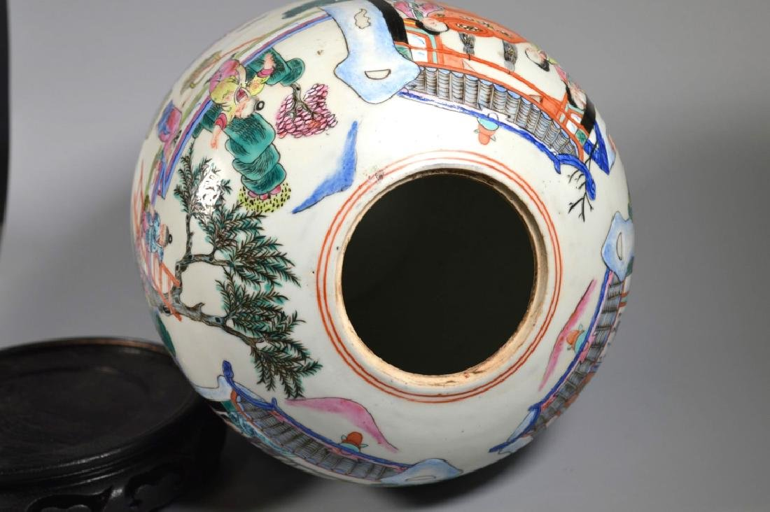 "Chinese 19 C ""Silk Production"" Porcelain Jar - 6"