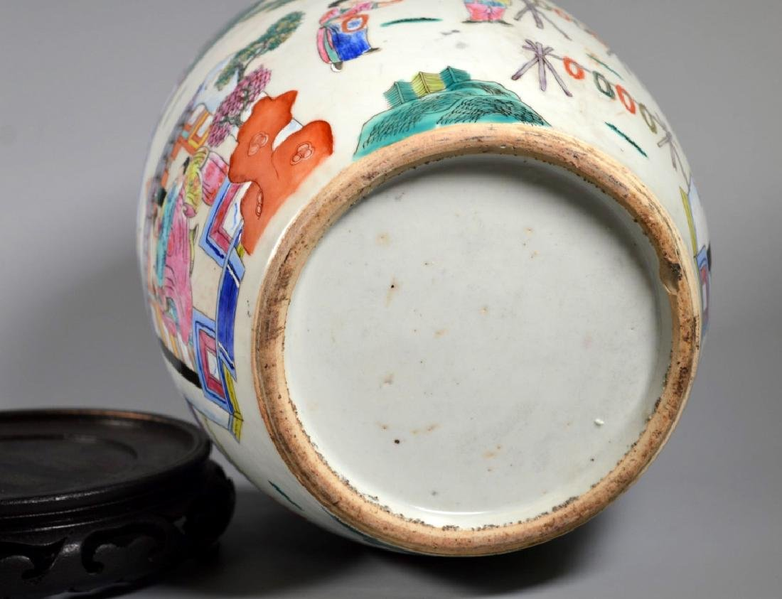 "Chinese 19 C ""Silk Production"" Porcelain Jar - 7"