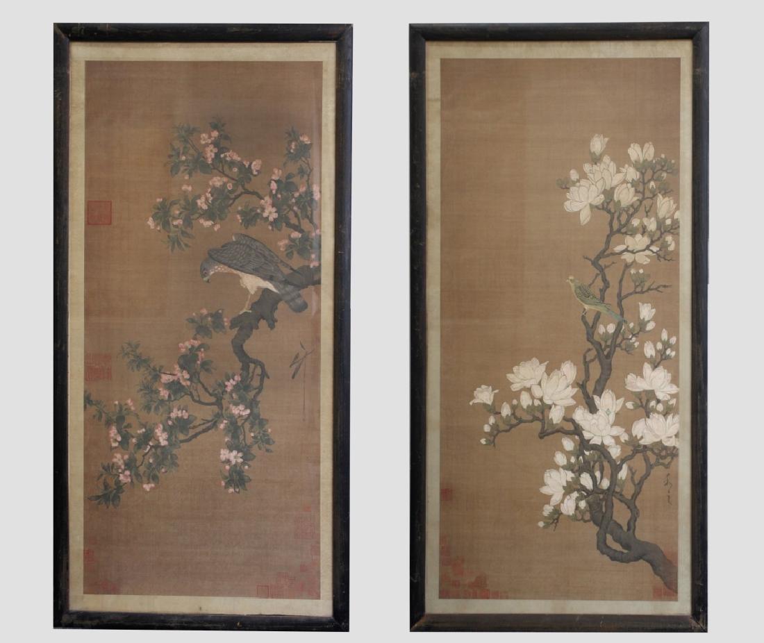 Two Qing Dynasty Bird & Flower Painting Scrolls