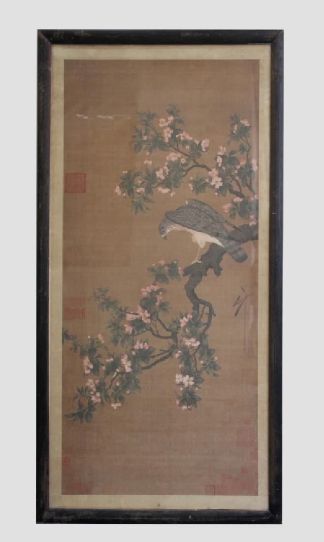 Two Qing Dynasty Bird & Flower Painting Scrolls - 2