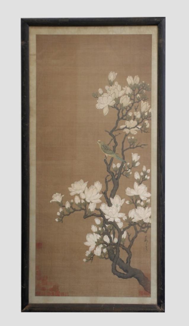 Two Qing Dynasty Bird & Flower Painting Scrolls - 3