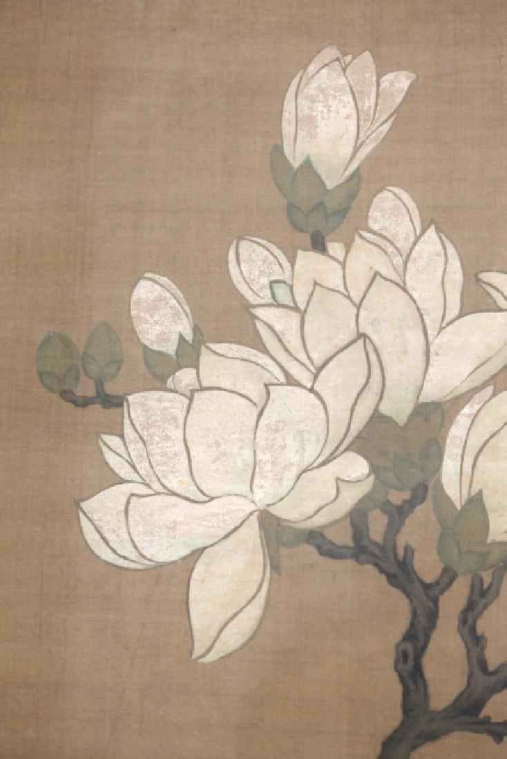 Two Qing Dynasty Bird & Flower Painting Scrolls - 4