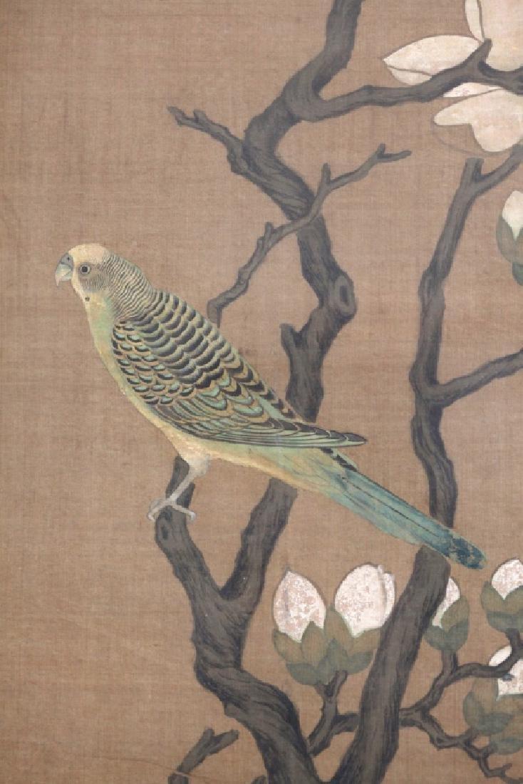 Two Qing Dynasty Bird & Flower Painting Scrolls - 5