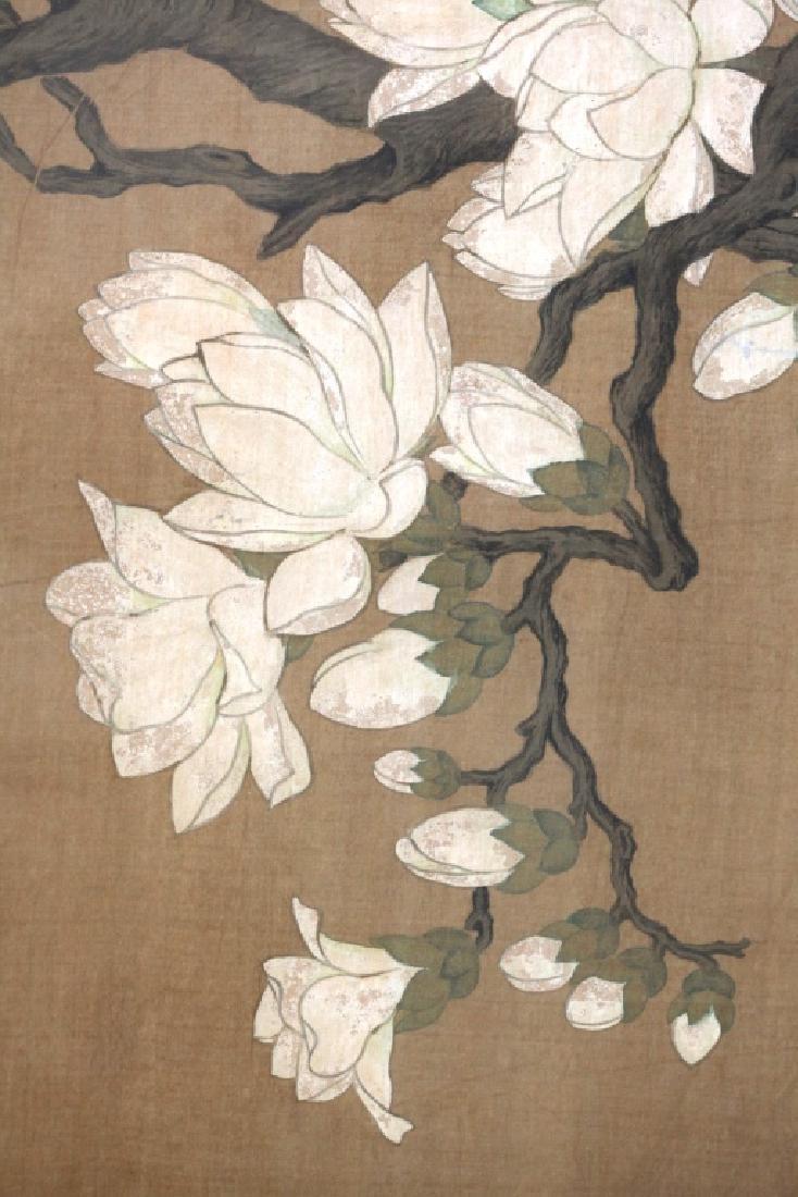 Two Qing Dynasty Bird & Flower Painting Scrolls - 6