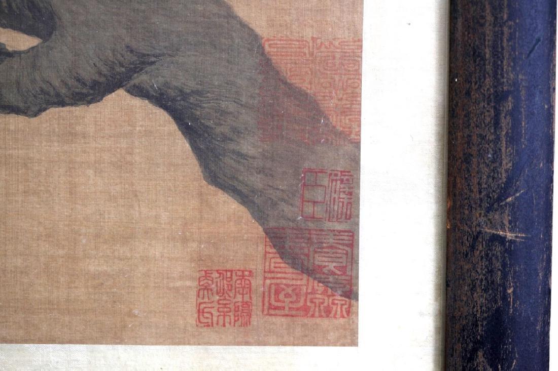 Two Qing Dynasty Bird & Flower Painting Scrolls - 9