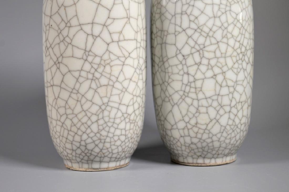 Pair Chinese White Crackle Glazed Porcelain Vases - 2