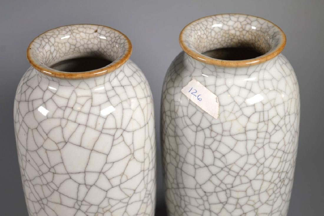 Pair Chinese White Crackle Glazed Porcelain Vases - 3