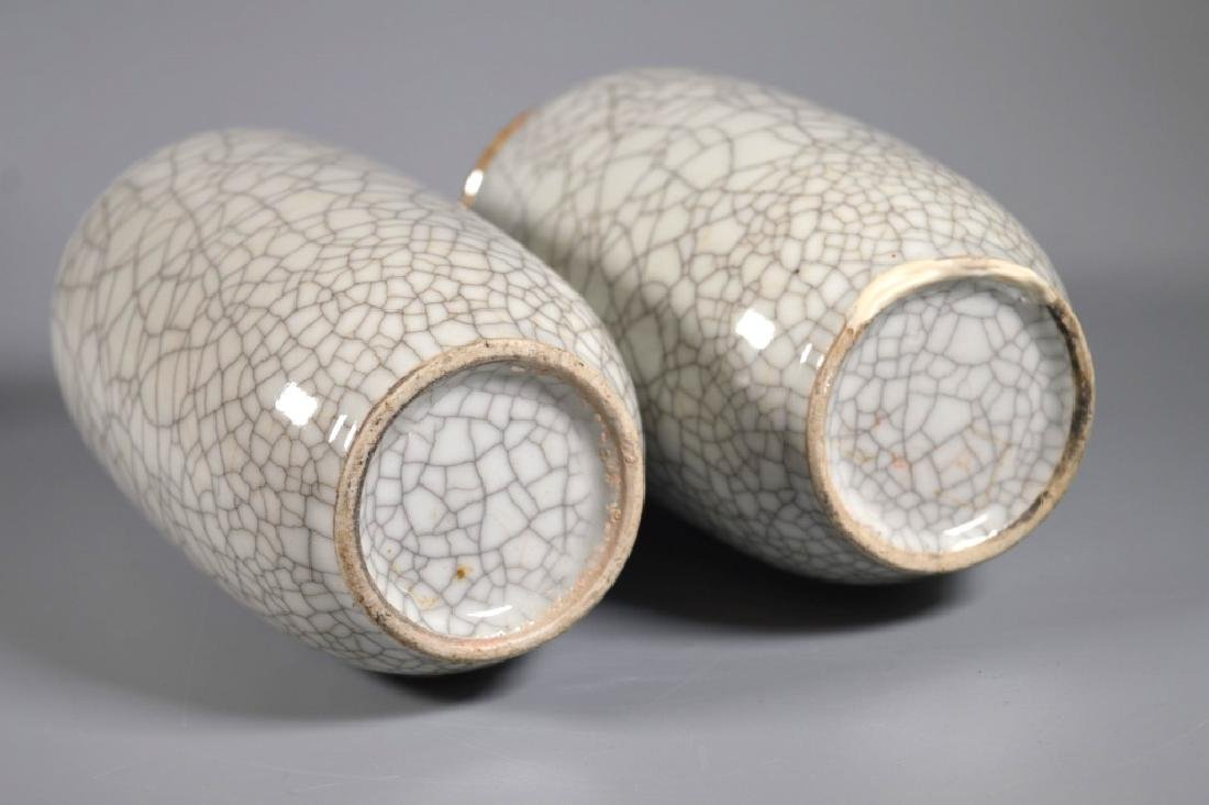 Pair Chinese White Crackle Glazed Porcelain Vases - 5