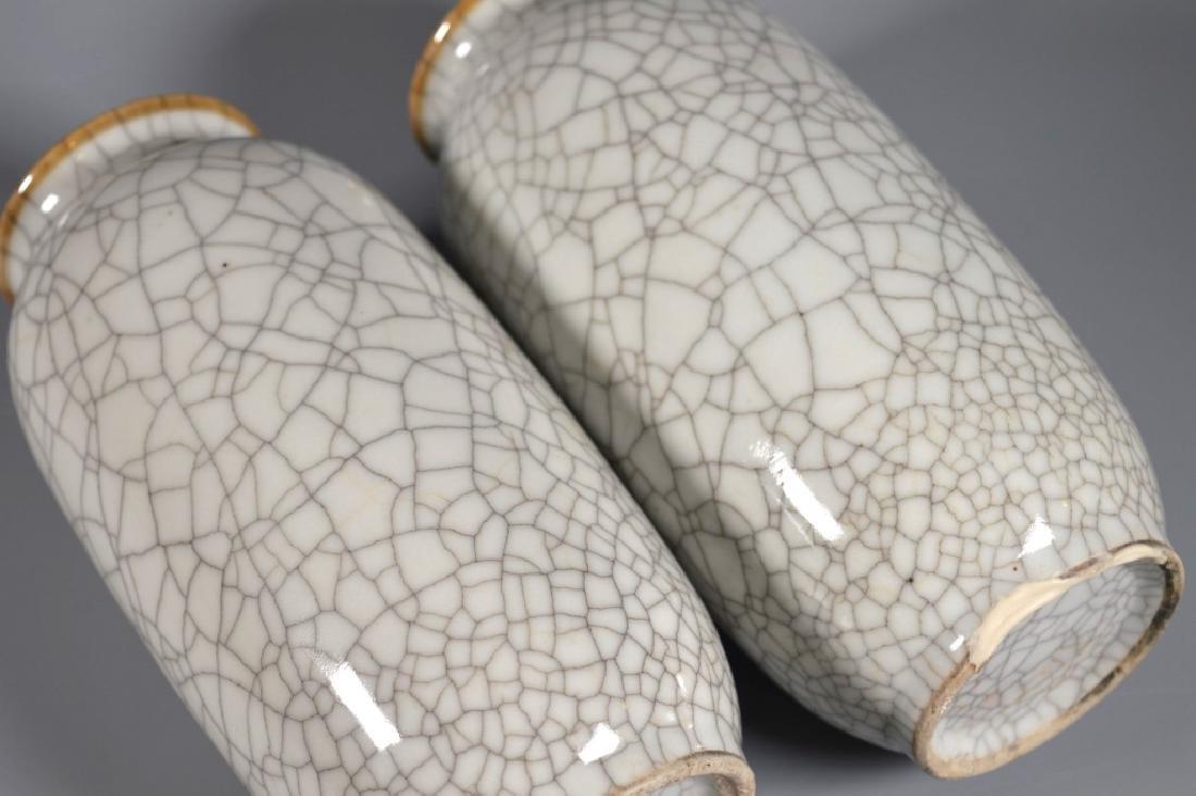 Pair Chinese White Crackle Glazed Porcelain Vases - 6