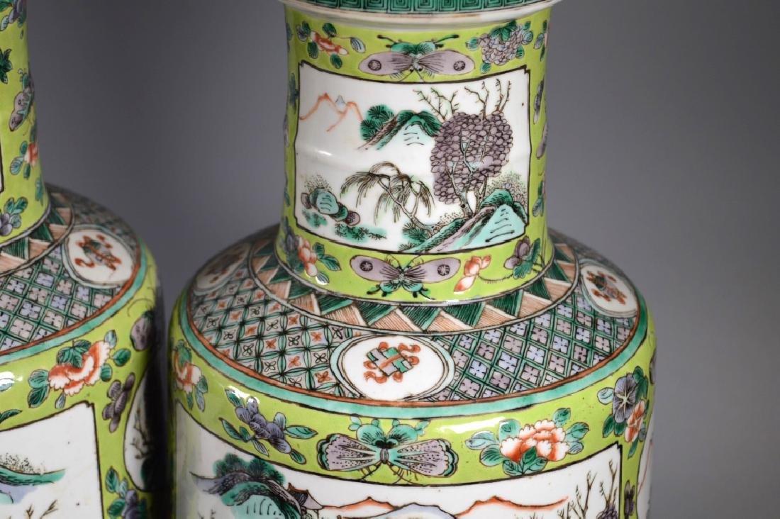 Pr 19 C Chinese Enameled Porcelain Baluster Vases - 3