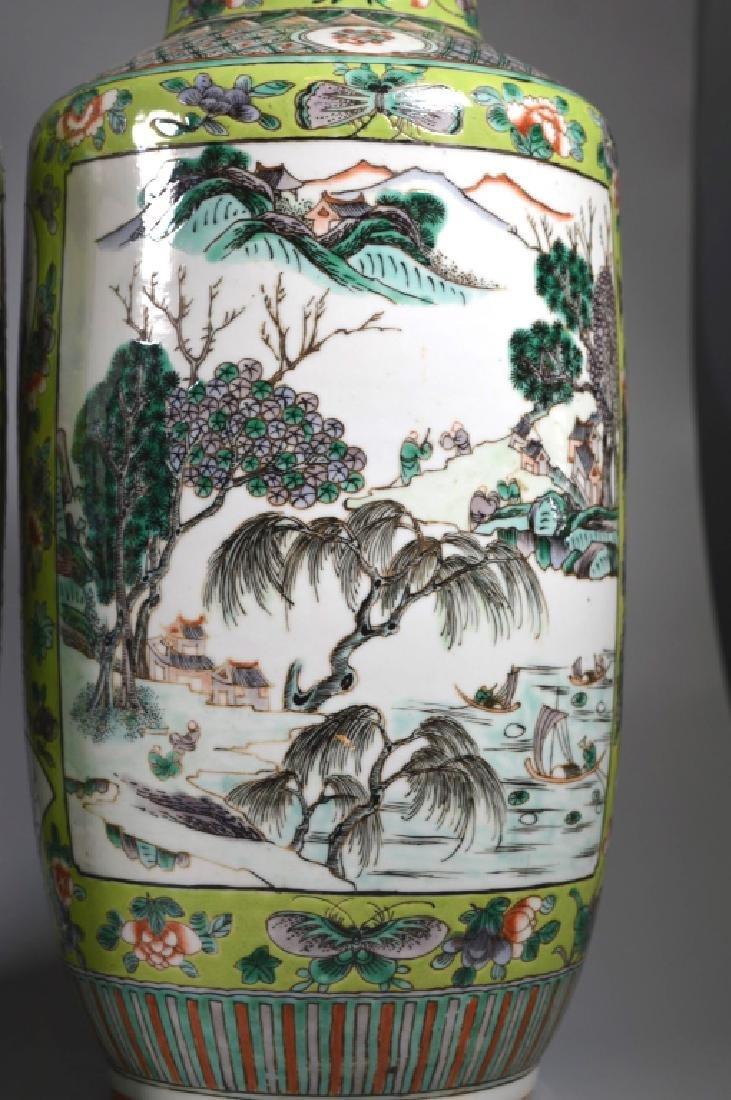 Pr 19 C Chinese Enameled Porcelain Baluster Vases - 4