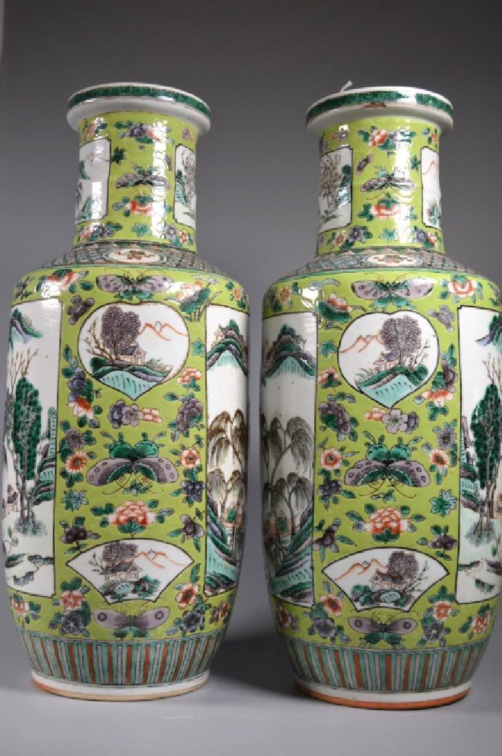 Pr 19 C Chinese Enameled Porcelain Baluster Vases - 5