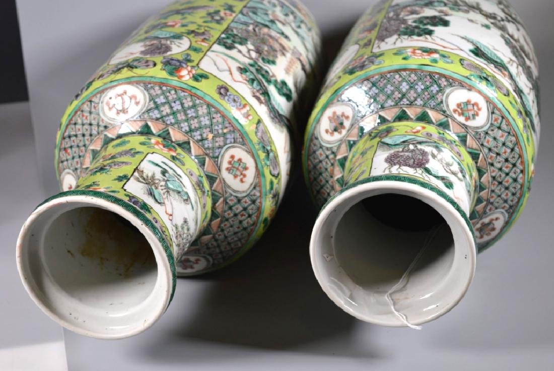 Pr 19 C Chinese Enameled Porcelain Baluster Vases - 6