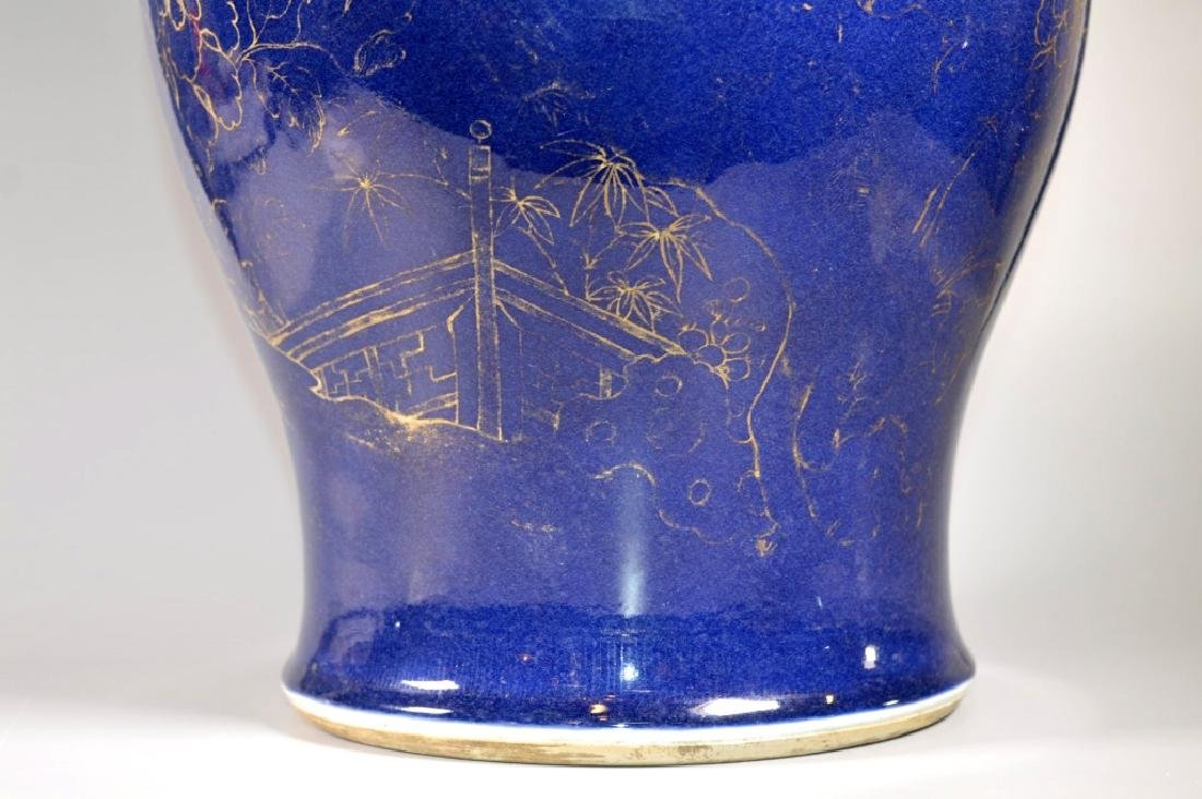 Lg Chinese 18 C Blue Glazed Porcelain Covered Jar - 3
