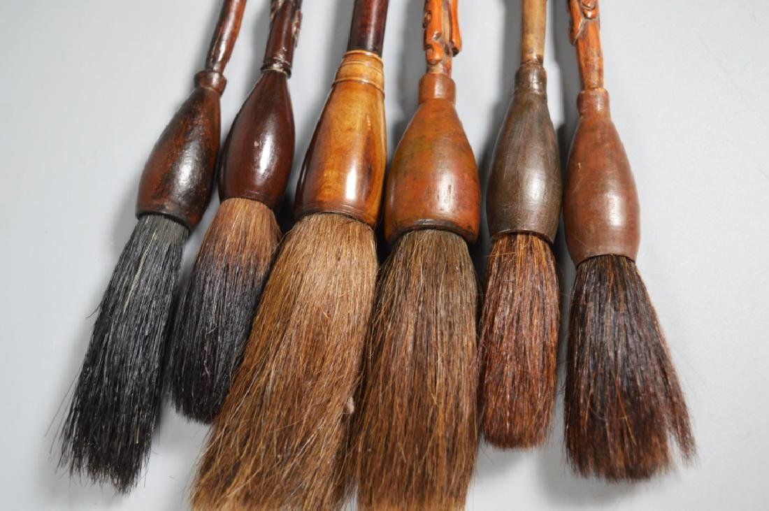 Collection 6 Chinese Hardwood Carved Brushes - 10