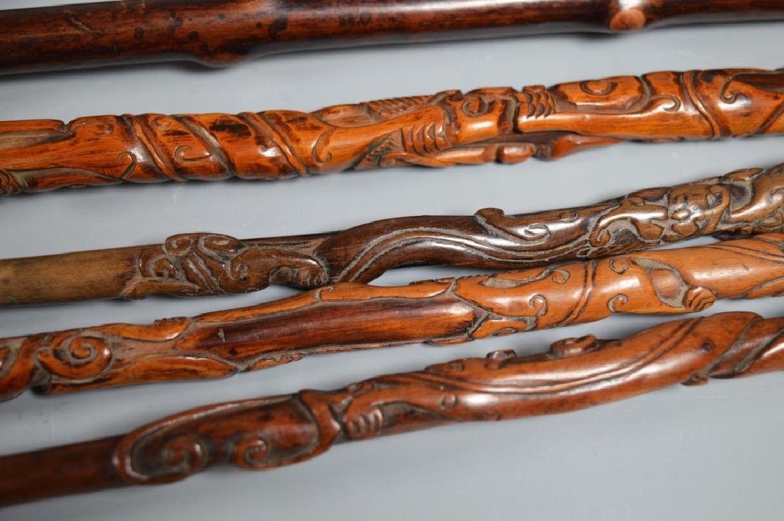 Collection 6 Chinese Hardwood Carved Brushes - 11