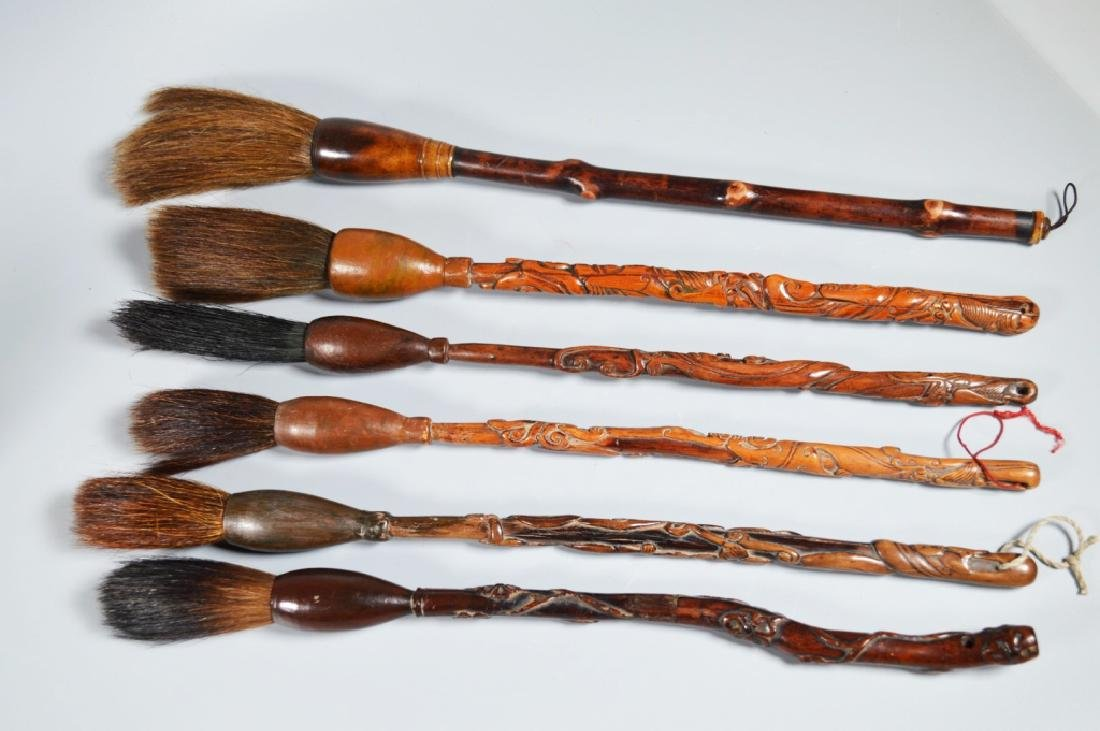 Collection 6 Chinese Hardwood Carved Brushes