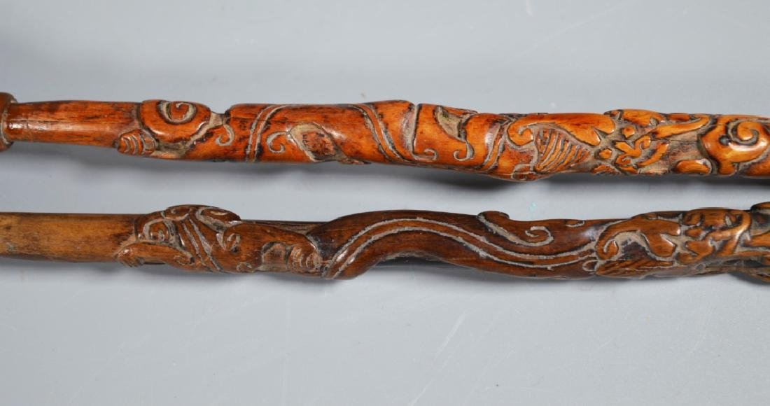 Collection 6 Chinese Hardwood Carved Brushes - 3