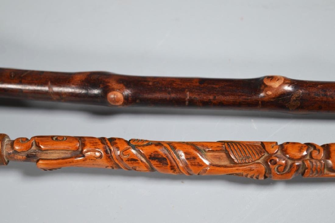 Collection 6 Chinese Hardwood Carved Brushes - 5