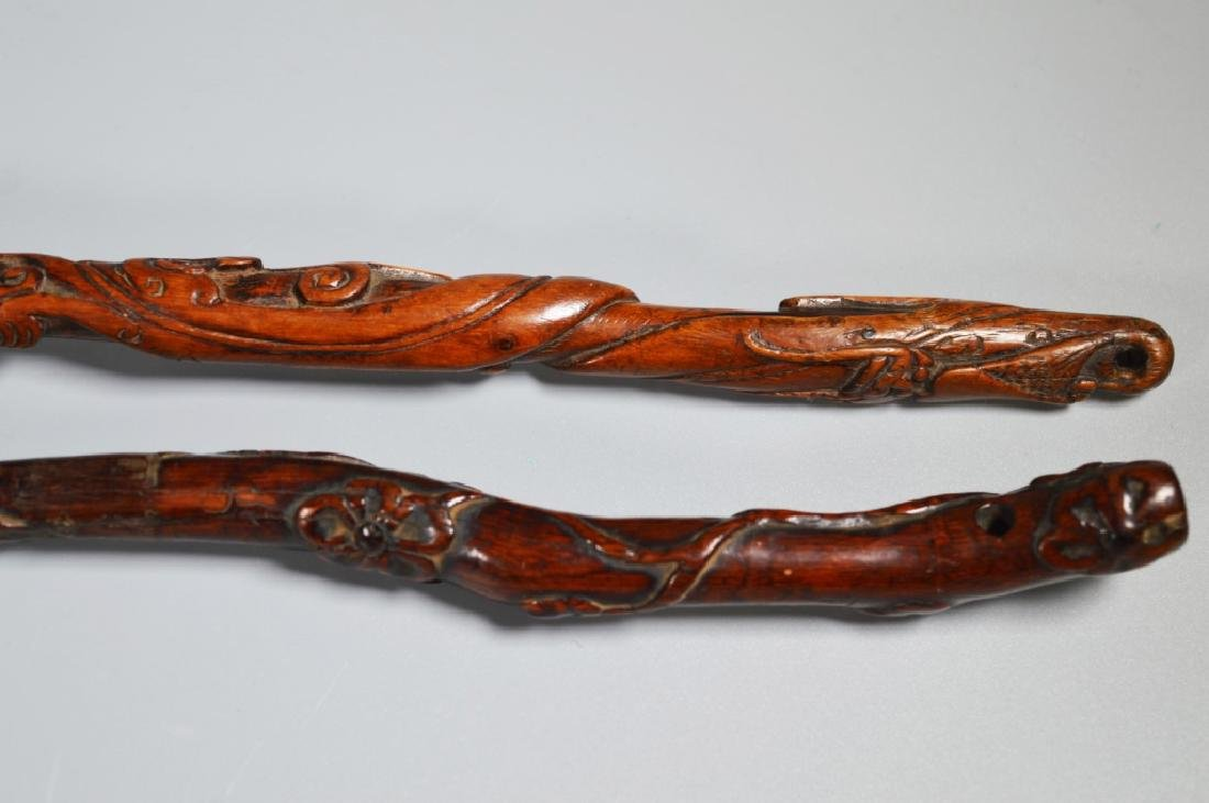 Collection 6 Chinese Hardwood Carved Brushes - 7