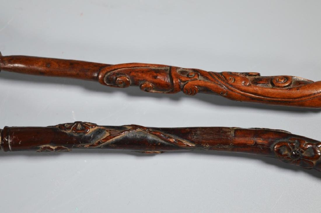 Collection 6 Chinese Hardwood Carved Brushes - 8